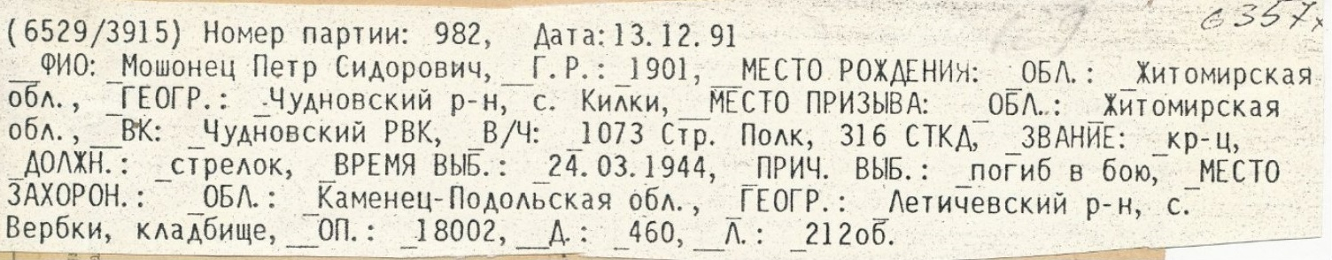 Мошонец Петр Сидорович