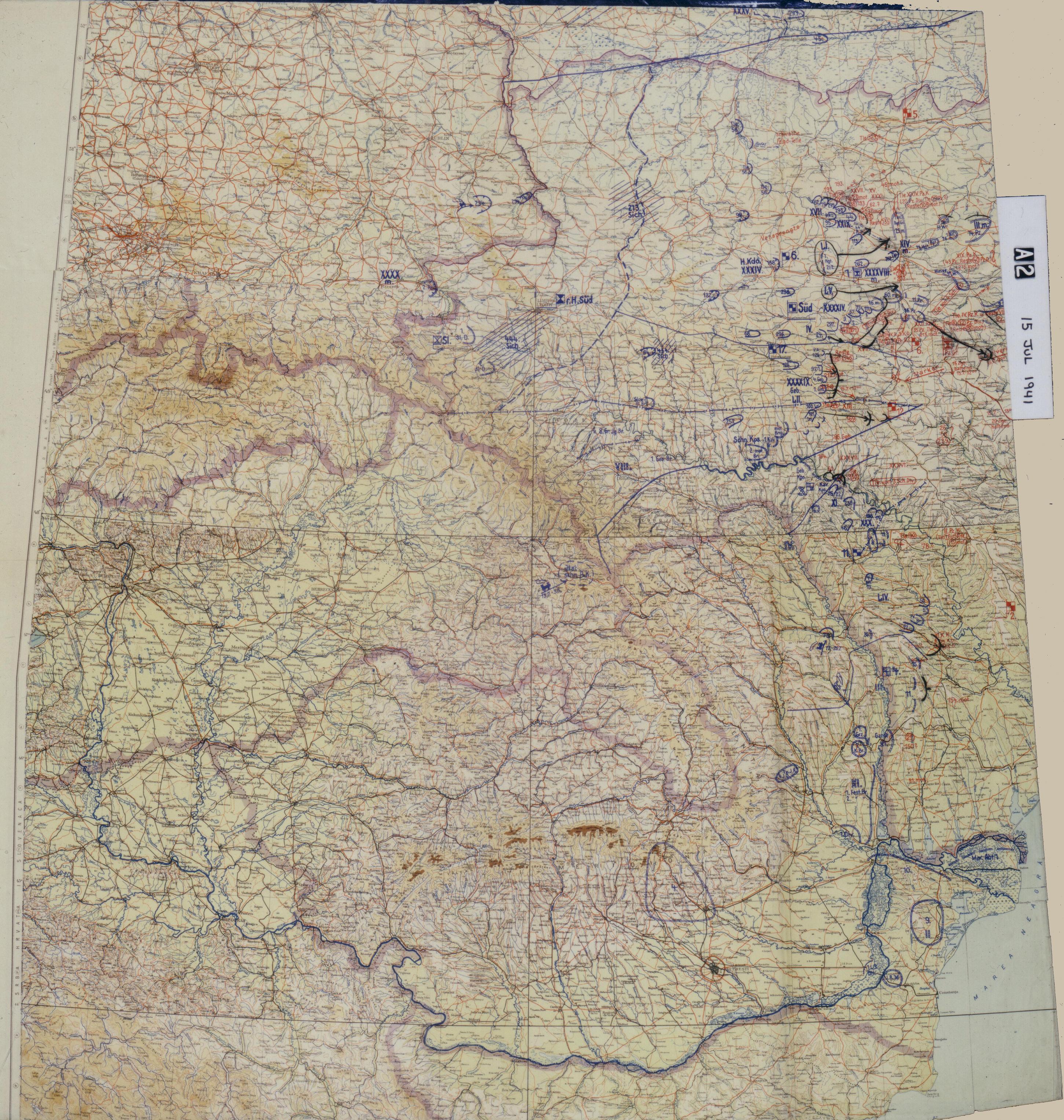 Карта немецкого генштаба. Общее положение на фронте 15 июля 1941 года.