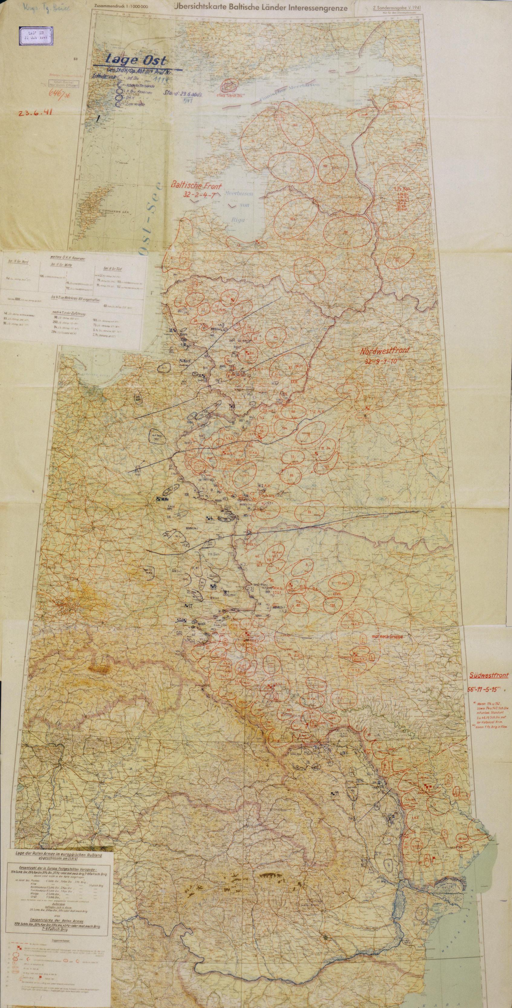 Карта немецкого генштаба 23 июня 1941 года.Положение на фронте