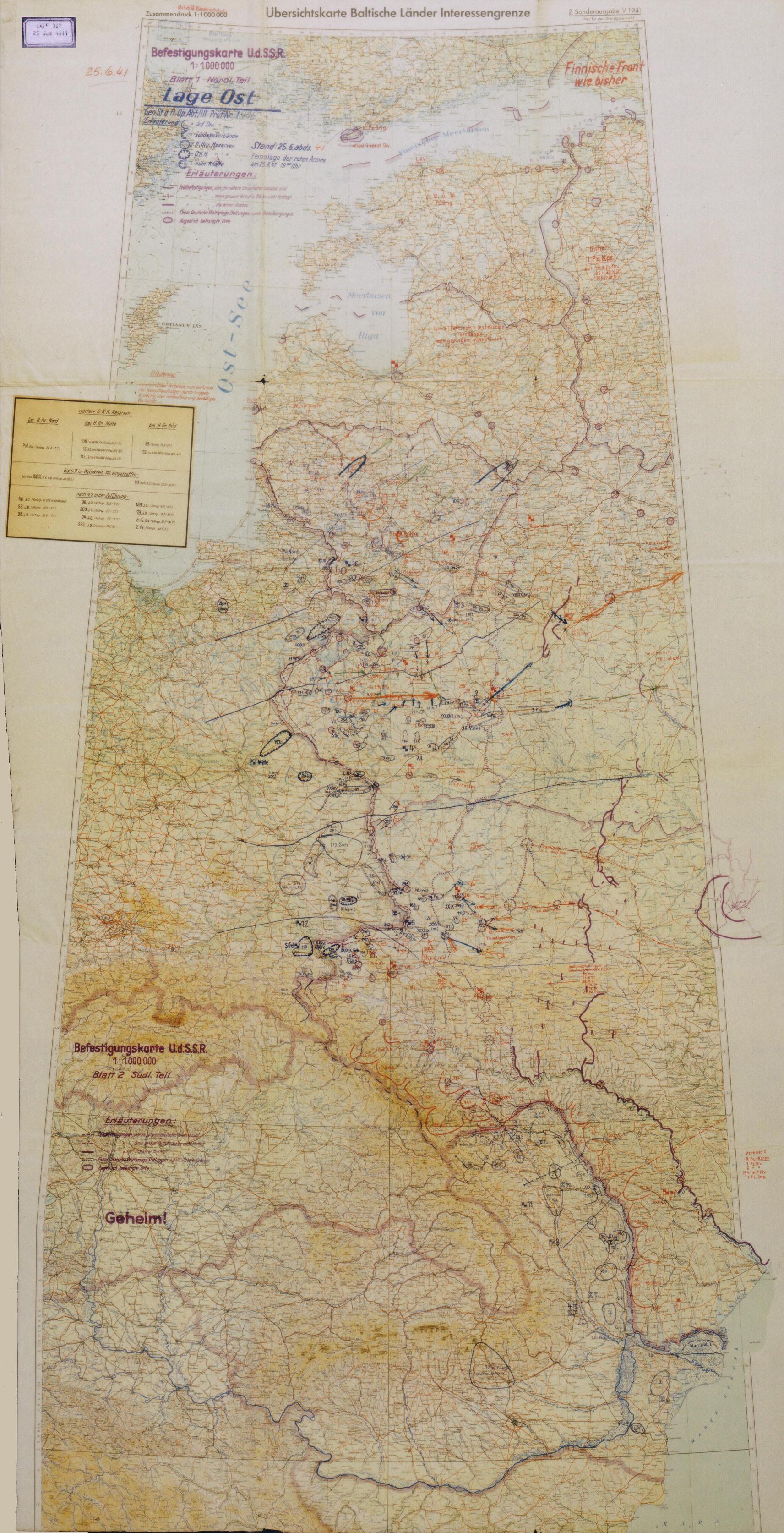 Карта немецкого генштаба. Общее положение на фронте 25 июня 1941 года.