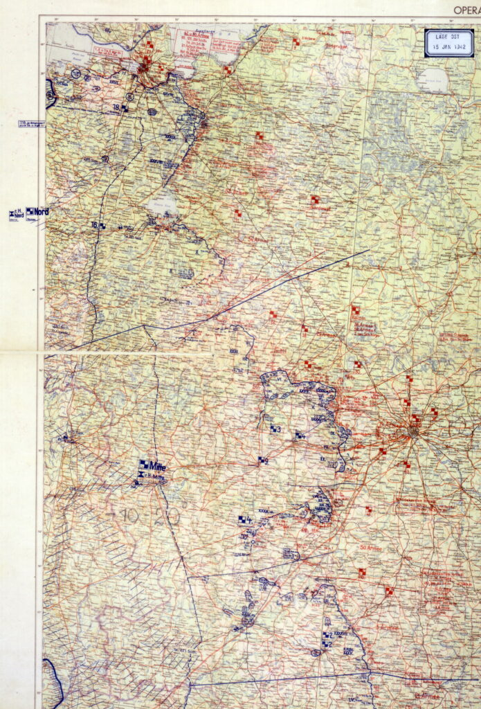 Карта немецкого генштаба от 15 января 1942 года