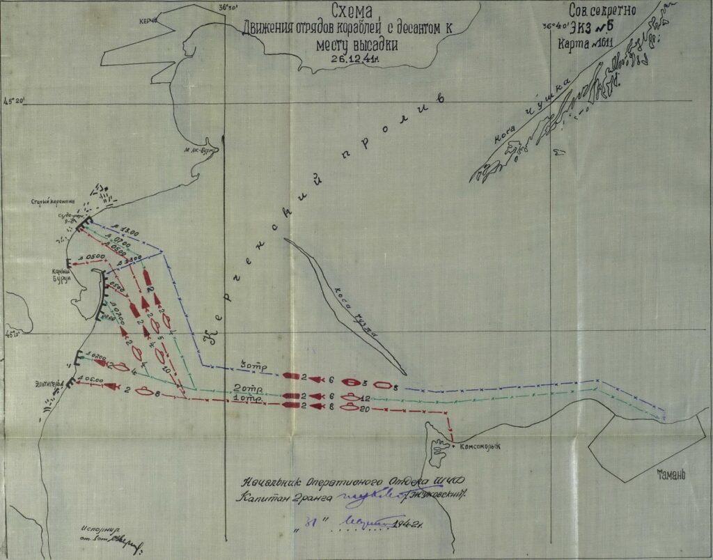 Схема движения отряда кораблей с десантом к месту высадки 26 декабря 1941 года