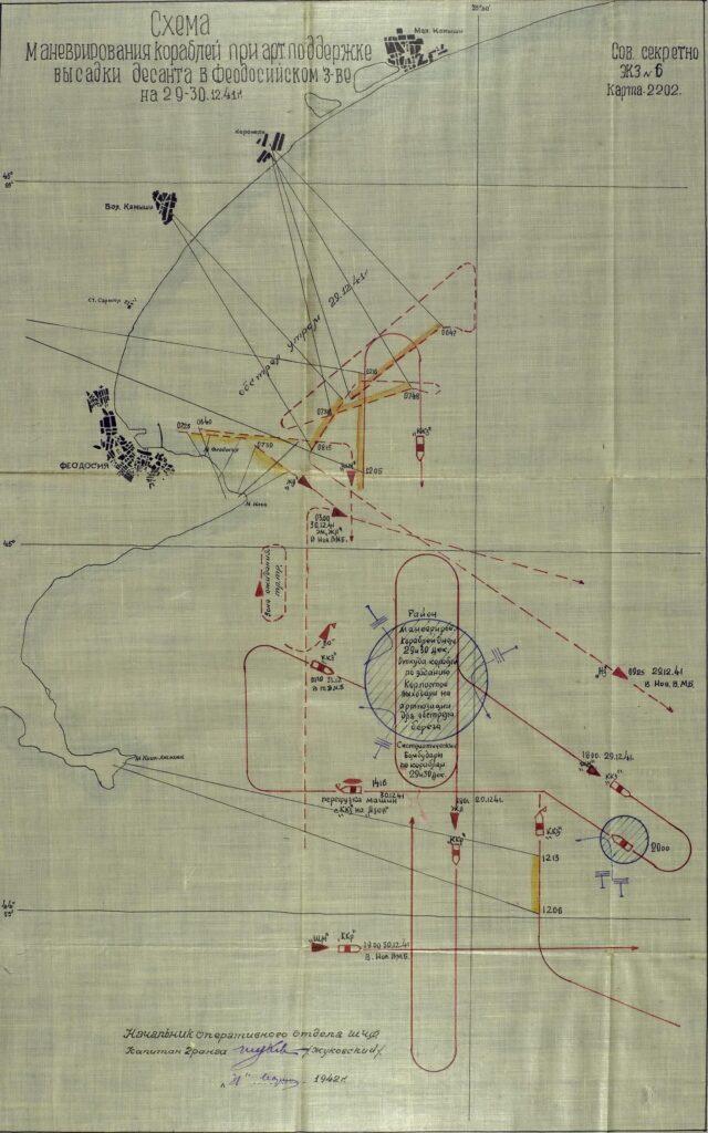 Схема маневрирования кораблей при артиллерийской поддержке высадки десанта в Феодосии 29-30 декабря 1941 года