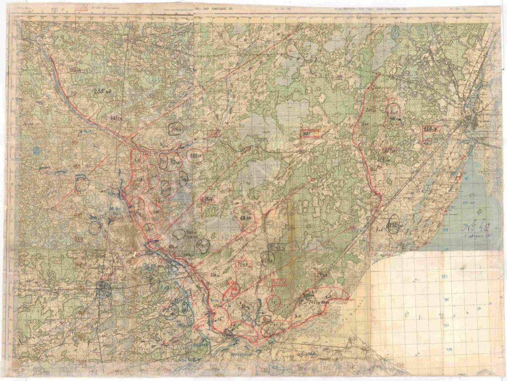 Карта положения войск Новгородской армейской группы с 8 по 11 августа 1941 г.