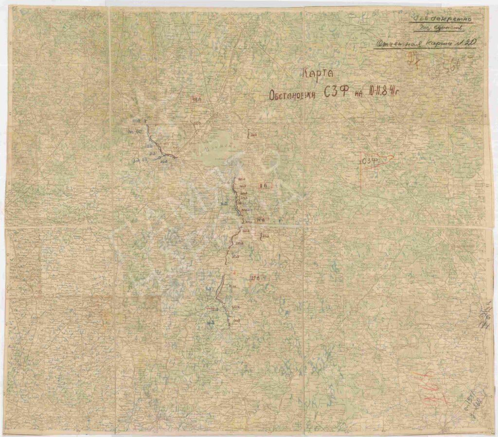 Карта обстановки СЗФ на 10-11 августа 1941 года